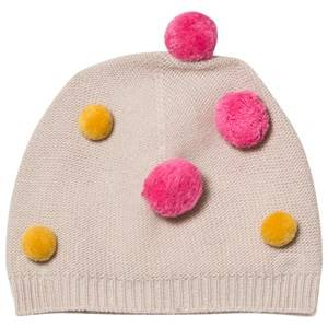 Il Gufo Girls Headwear Beige Beige and Multi Pom Pom Beanie