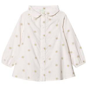 Margherita Kids Girls Tops Cream Cream Printed Daisy Logo Smock Shirt