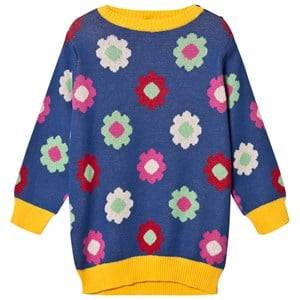 Margherita Kids Girls Dresses Blue Blue Multi Daisy Double Knit Dress