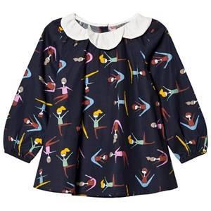Margherita Kids Girls Tops Navy Black Multi Stretching Print Daisy Collar Top