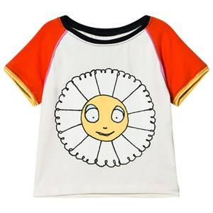 Margherita Kids Girls Tops Cream Cream Multi Daisy Ringer Tee Print With Flocking