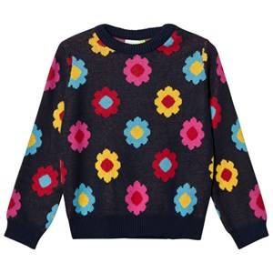 Margherita Kids Girls Jumpers and knitwear Navy Black Multi Daisy Double Knit Sweater