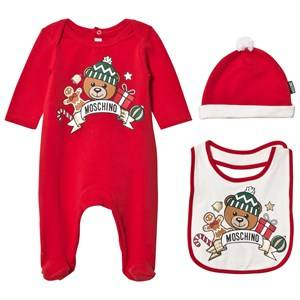 Moschino Kid-Teen Unisex Clothing sets Red Red Christmas Bear Print Footed Baby Body Hat and Bib Gift Box