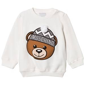 Moschino Kid-Teen Unisex Jumpers and knitwear White Cream Winter Bear Pom Pom Applique Sweatshirt