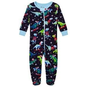 Hatley Boys All in ones Navy Christmas Dino Print Footed Baby Body Navy
