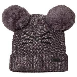 Karl Lagerfeld Kids Girls Headwear Grey Grey and Silver Lurex Knit Double Pom Pom Beanie