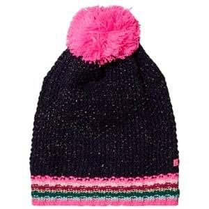Le Big Girls Headwear Navy Navy Stripe Knitted Bobble Hat