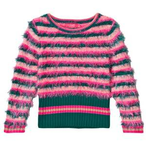 Le Big Girls Jumpers and knitwear Pink Fluffy Stripe Sweater Pink Green