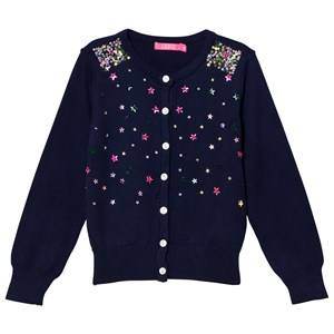 Le Big Girls Jumpers and knitwear Navy Navy Cardigan with Sequin Stars