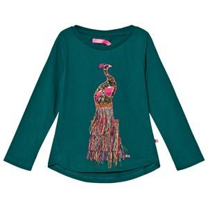 Le Big Girls Tops Green Everglade Long Sleeve Tee with Embroidered Peacock