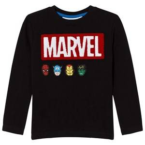 Fabric Flavours Boys Tops Black Black Marvel Bouclé Logo Pique Tee