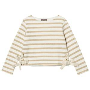 Emile et Ida Girls Jumpers and knitwear White Striped Sweater Ecru/Gold