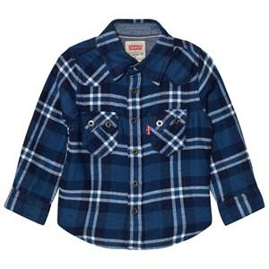 Levis Kids Boys Tops Blue Blue and White Woven Check Shirt