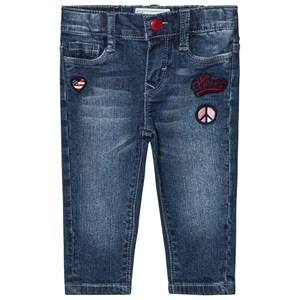 Levis Kids Girls Bottoms Blue Blue Mid Wash Pull Up Jeans with Badge Embroidery