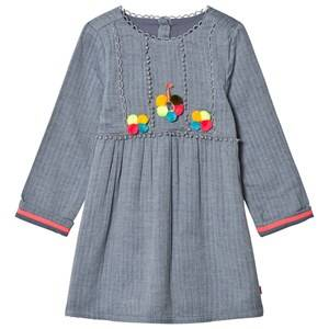 Billieblush Girls Dresses Blue Blue Chambray Pom Pom Dress