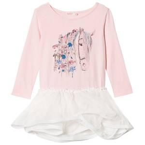 Billieblush Girls Dresses Pink Pink Horse Embellished Jersey and Tulle Dress