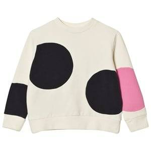 Wynken Girls Jumpers and knitwear Cream Cream and Pink Spot Sweatshirt