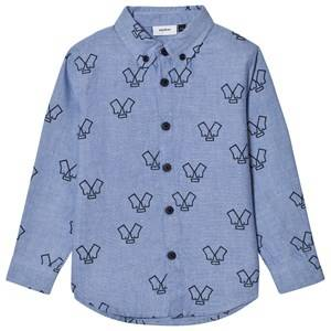 Wynken Boys Tops Blue Chambray Monster Button-Down Shirt