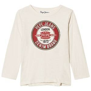 Pepe Jeans Boys Tops Cream Cream Logo Long Sleeve Tee