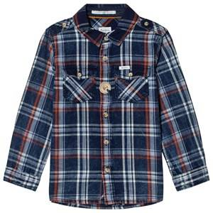 Pepe Jeans Boys Tops Blue Daniel Check Shirt Blue/Orange