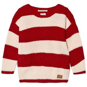 Pepe Jeans Girls Jumpers and knitwear Red Red and Cream Stripe Sweater