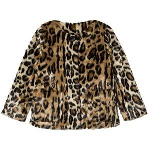 Pepe Jeans Girls Coats and jackets Beige Leopard Print Faux Fur Jacket
