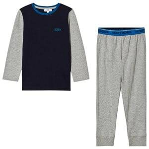 Boss Boys Nightwear Grey Grey and Blue Branded Pyjamas
