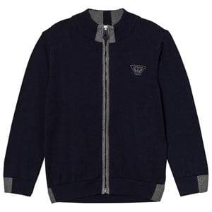 Giorgio Armani Junior Boys Jumpers and knitwear Navy Navy and Grey Logo Knit Zip Cardigan