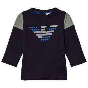 Giorgio Armani Junior Boys Tops Navy Navy and Grey Eagle Logo Long Sleeve Tee