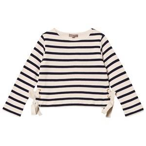 Emile et Ida Girls Jumpers and knitwear White Striped Sweater with bow details Marine/ecru