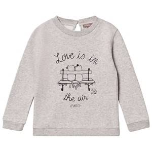 Emile et Ida Girls Jumpers and knitwear Grey Gris Chine Love Is In The Air Sweater
