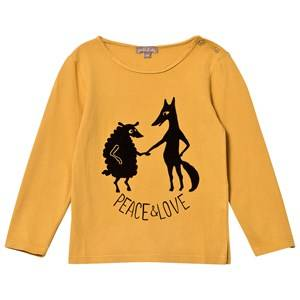 Emile et Ida Boys Tops Yellow Peace and Love Tee Ocre
