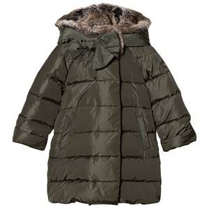 Il Gufo Girls Coats and jackets Green Green Coat with Faux Fur Hood