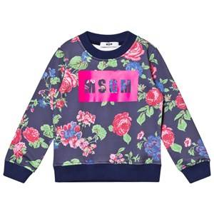 MSGM Girls Jumpers and knitwear Navy Navy Floral Logo Sweatshirt