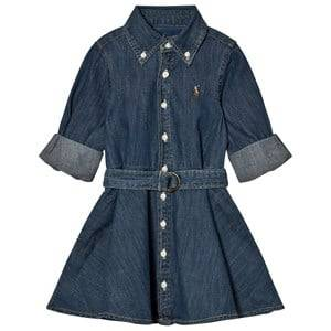 Ralph Lauren Girls Dresses Blue Blue Denim Fit-And-Flare Shirt Dress