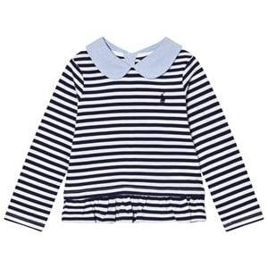 Ralph Lauren Girls Tops Navy Navy Stripe Tee Peter Pan Collar