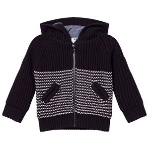 Cyrillus Boys Jumpers and knitwear Navy Ink Blue and Cream Striped Cardigan