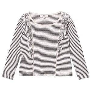 Cyrillus Girls Tops Navy Navy and White Stripe Long Sleeve Tee