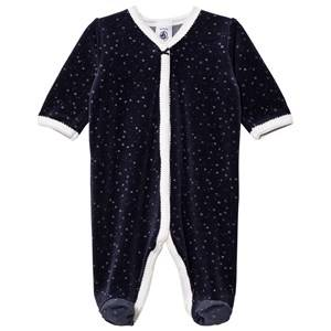 Petit Bateau Unisex All in ones Blue Footed Baby Body Marine Argent