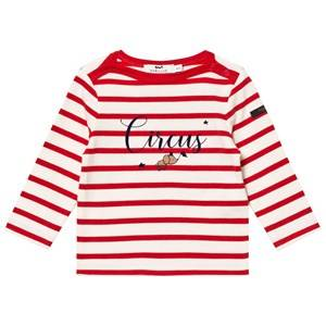Cyrillus Unisex Tops Pink Red/White Stripe Long Sleeve Tee