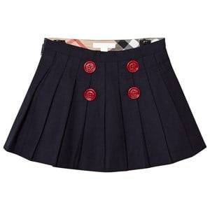 Burberry Girls Skirts Navy Navy Florianne Wool Skirt with Contrast Buttons