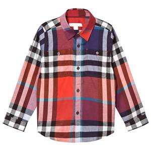 Burberry Boys Tops Orange Orange and Red Mini Fred Check Shirt
