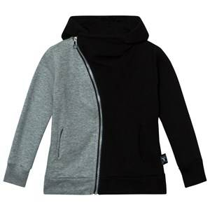 NUNUNU Unisex Jumpers and knitwear Black Half & Half Zip Hoodie Black/Heather Grey