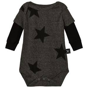 NUNUNU Unisex All in ones Grey Star Baby Body Charcoal