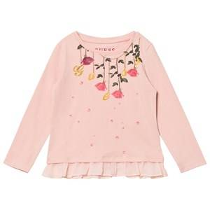 Guess Girls Tops Pink Pink Flower and Branded Peplum Tee