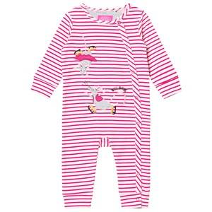Tom Joule Girls All in ones Pink Pink Stripe Skating Mice Applique Footless Babygrow