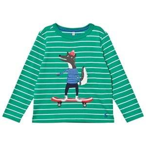 Tom Joule Boys Tops Green Green and White Stripe Skater Wolf Applique Tee