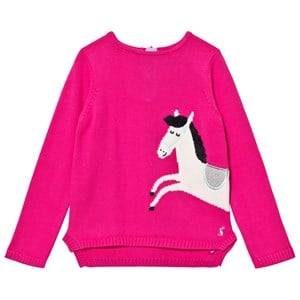 Tom Joule Girls Jumpers and knitwear Pink Pink Horse Intarsia Knit Jumper