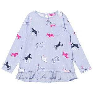 Tom Joule Girls Tops Blue Blue Dancing Unicorns Print Ruffle Hem Tee