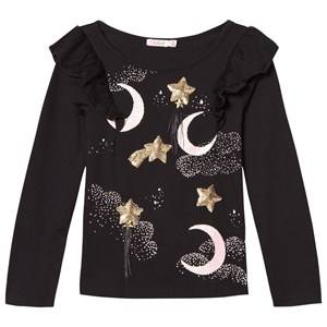 Billieblush Girls Tops Black Sequin Moon Stars Print Tee